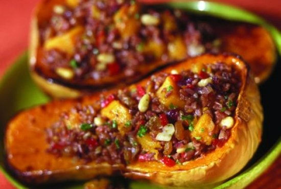 Baked Butternut Squash and Red Camargue Rice Pilaf